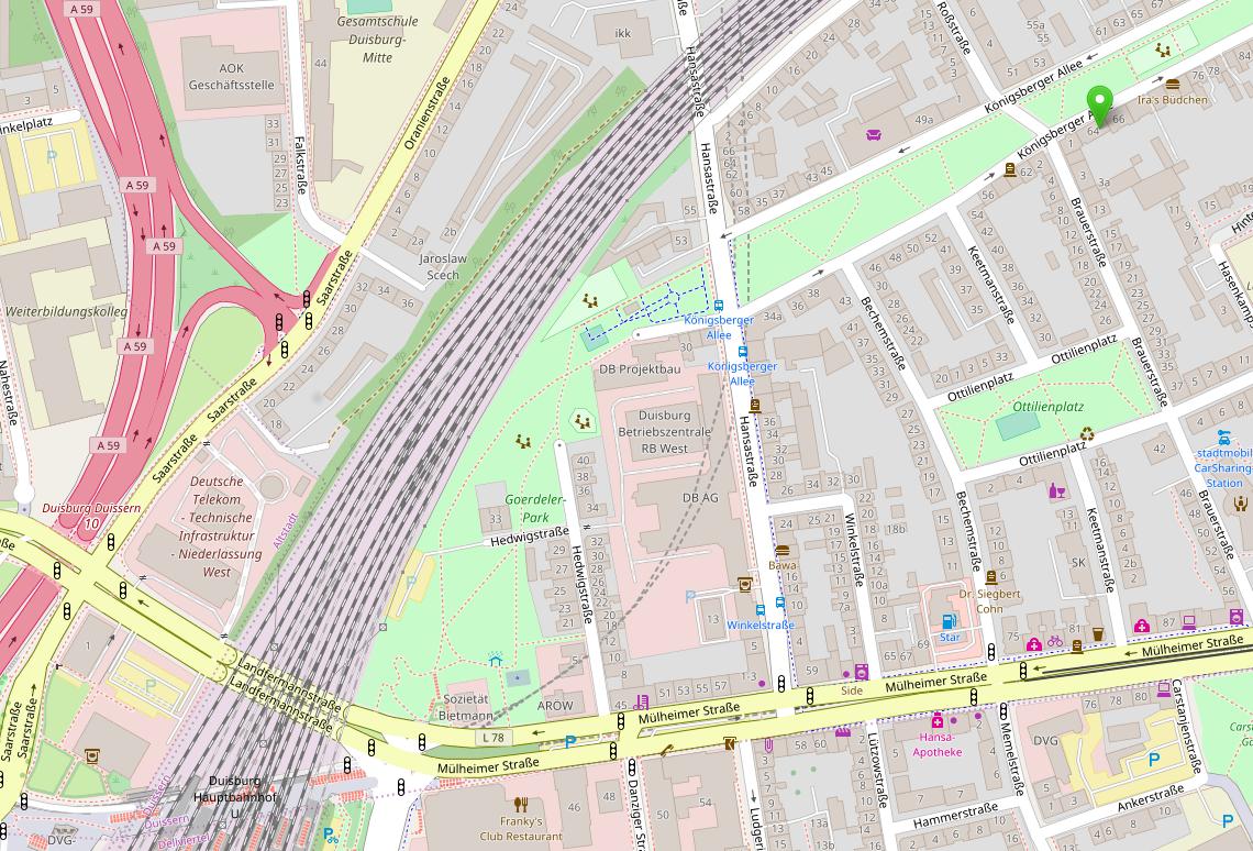 Kartenausschnitt Duisburg (Open Maps)